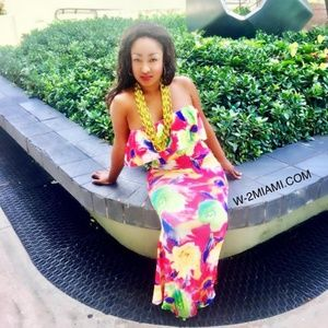 MIAMI YELLOW OFF SHOULDER FLORAL MAXI DRESS